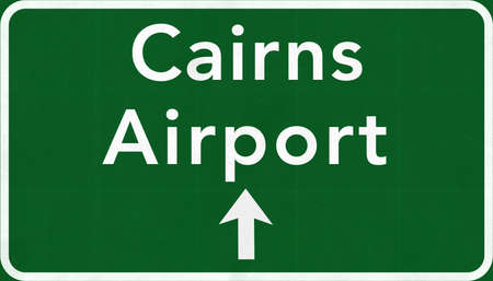 cairns: Cairns Australia International Airport Highway Sign 2D Illustration