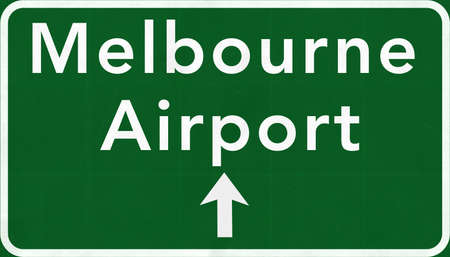 melbourne australia: Melbourne Australia International Airport Highway Sign 2D Illustration