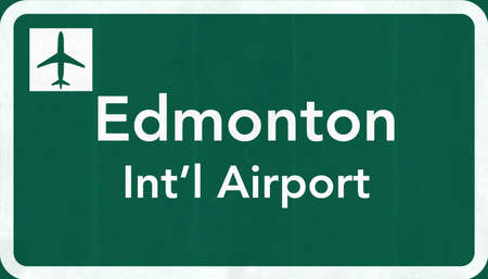 edmonton: Edmonton Canada International Airport Highway Sign 2D Illustration