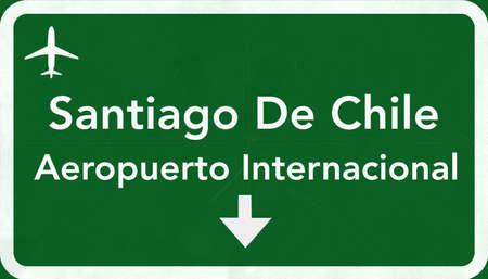 santiago: Santiago Chile International Airport Highway Sign 2D Illustration
