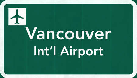 airfield: Vancouver Canada International Airport Highway Sign 2D Illustration