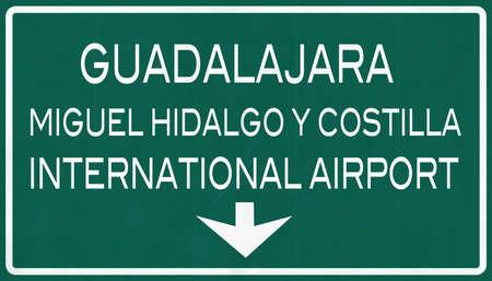 guadalajara: Guadalajara Mexico International Airport Highway Sign 2D Illustration Stock Photo