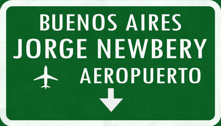 buenos: Buenos Aires Jorge Newbery Argentina International Airport Highway Sign 2D Illustration