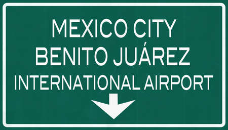airfield: Mexico City Benito Juarez International Airport Highway Sign 2D Illustration Stock Photo