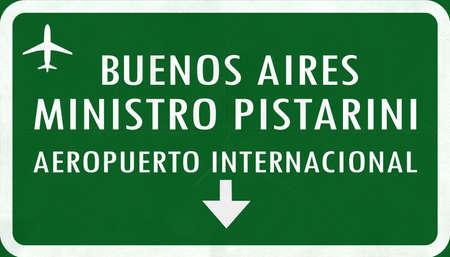 buenos: Buenos Aires Ministro Pistarini Argentina International Airport Highway Sign 2D Illustration