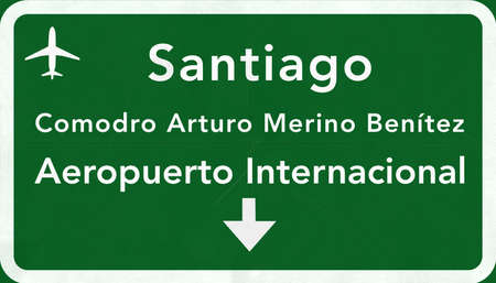 santiago: Santiago Chile International Airport Highway Sign 2D Illustration