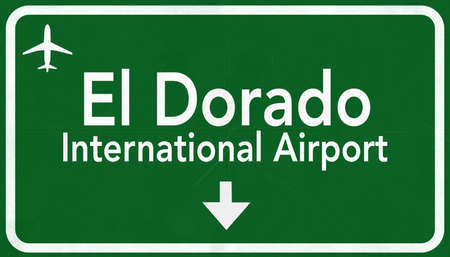 airfield: Bogota Colombia International Airport Highway Sign 2D Illustration