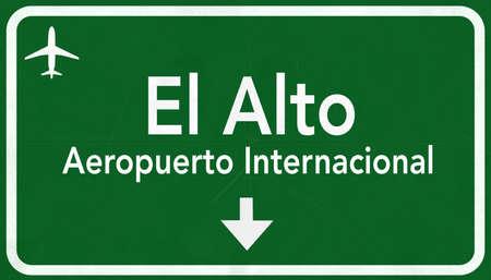alto: El Alto Bolivia International Airport Highway Sign 2D Illustration