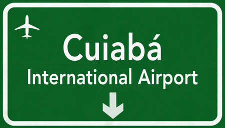 airfield: Cuiba Brazil International Airport Highway Sign 2D Illustration