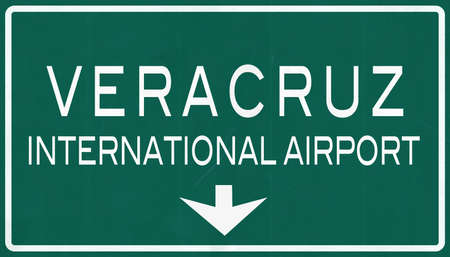 mariano: Veracruz Mexico International Airport Highway Sign 2D Illustration Stock Photo
