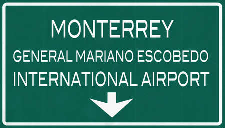 monterrey: Monterrey Mexico International Airport Highway Sign 2D Illustration