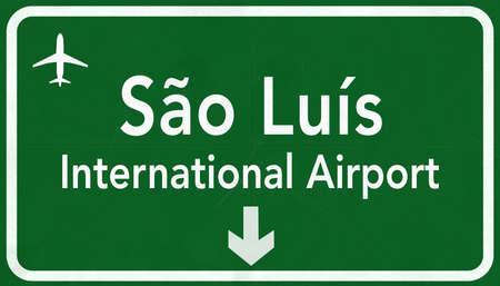 luis: Sao Luis Brazil International Airport Highway Sign 2D Illustration