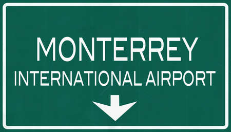 mariano: Monterrey Mexico International Airport Highway Sign 2D Illustration
