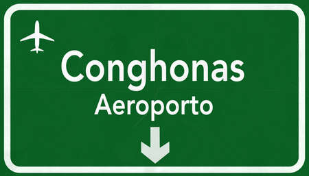 airfield: Sao Paulo Conghonas Brazil Airport Highway Sign 2D Illustration