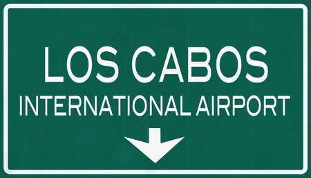los cabos: Los Cabos Mexico International Airport Highway Sign 2D Illustration