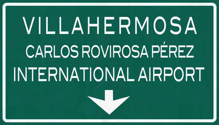 mariano: Villahermosa Mexico International Airport Highway Sign 2D Illustration