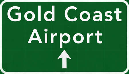 gold coast australia: Gold Coast Australia International Airport Highway Sign 2D Illustration
