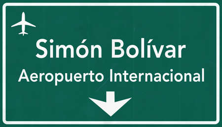 airfield: Simon Bolivar Venezuela International Airport Highway Sign 2D Illustration