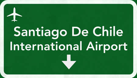 airfield: Santiago Chile International Airport Highway Sign 2D Illustration