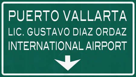 mariano: Puerto Vallarta Mexico International Airport Highway Sign 2D Illustration Stock Photo