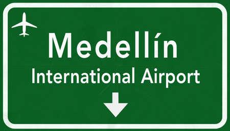 medellin: Medellin Colombia International Airport Highway Sign 2D Illustration Stock Photo