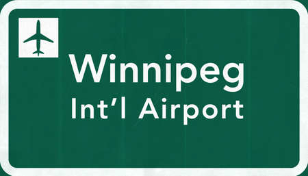 armstrong: Winnipeg Canada International Airport Highway Sign 2D Illustration