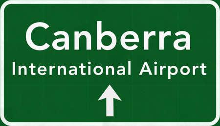 canberra: Canberra Australia International Airport Highway Sign 2D Illustration