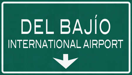 leon: Leon Mexico International Airport Highway Sign 2D Illustration