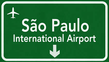 airfield: Sao Paulo Guarulhos Brazil International Airport Highway Sign 2D Illustration