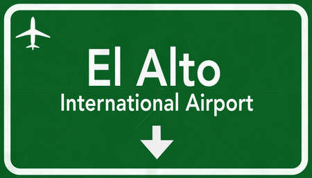 highway sign: El Alto Bolivia International Airport Highway Sign 2D Illustration