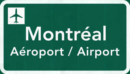 montreal: Montreal Canada International Airport Highway Sign 2D Illustration