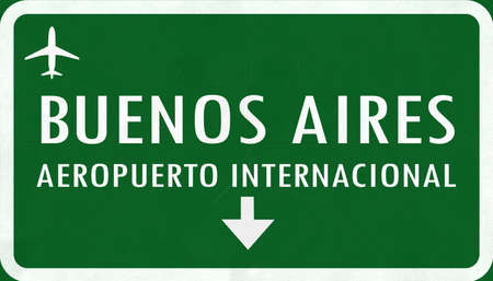 buenos: Buenos Aires Argentina International Airport Highway Sign 2D Illustration Stock Photo