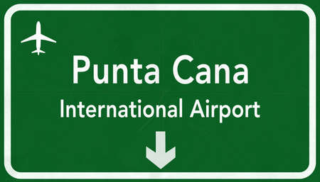 airfield: Dominican Republic Punta Cana International Airport Highway Sign 2D Illustration
