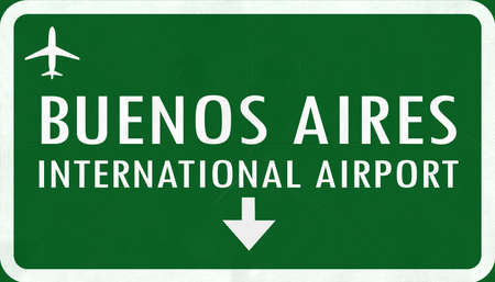 aires: Buenos Aires Argentina International Airport Highway Sign 2D Illustration Stock Photo