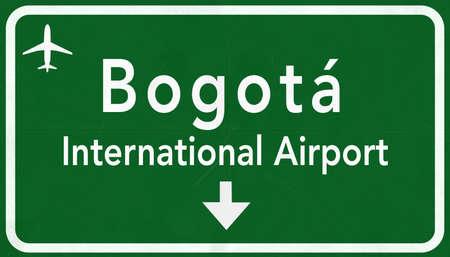 dorado: Bogota Colombia International Airport Highway Sign 2D Illustration