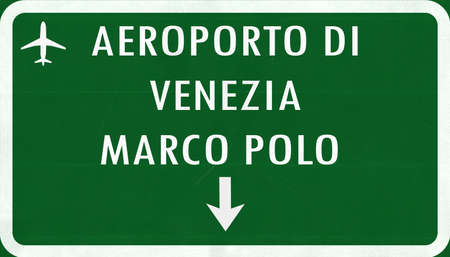 venice italy: Venice Italy Airport Highway Sign 2D Illustration