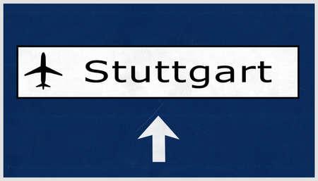 stuttgart: Stuttgart Germany Airport Highway Sign 2D Illustration