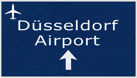 airfield: Dusseldorf Germany Airport Highway Sign 2D Illustration Stock Photo