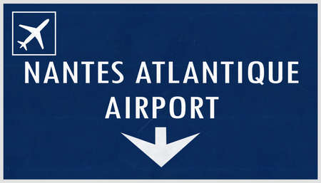 french board: Nantes France Airport Highway Sign 2D Illustration