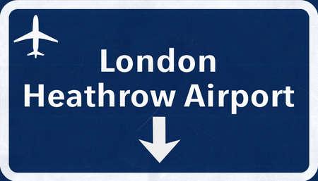 London Heathrow England United Kingdom Airport Highway Sign 2D Illustration