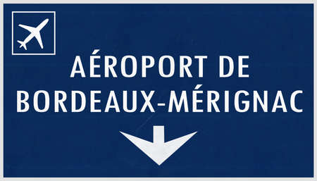 airfield: Bordeaux France Airport Highway Sign 2D Illustration Stock Photo
