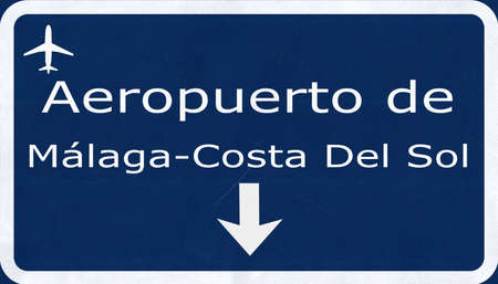 airfield: Malaga Costa Del Sol Spain Airport Highway Sign 2D Illustration