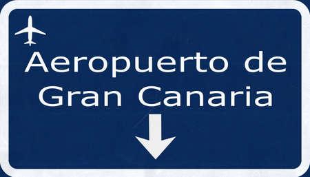 gran: Gran Canaria Airport Highway Sign 2D Illustration