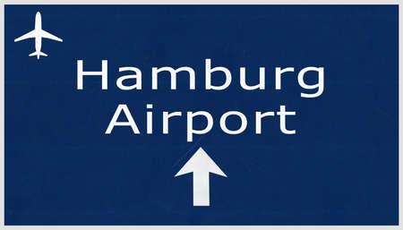 deutschland: Hamburg Germany Airport Highway Sign 2D Illustration Stock Photo
