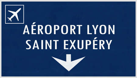 Lyon France Airport Highway Sign 2D Illustration Stock Photo