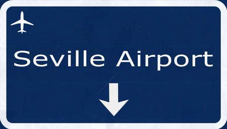 2d: Sevilla Spain Airport Highway Sign 2D Illustration