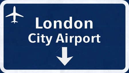 london   england: London England United Kingdom City Airport Highway Sign 2D Illustration Stock Photo