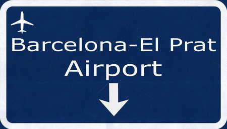 barcelona: Barcelona Spain Airport Highway Sign 2D Illustration