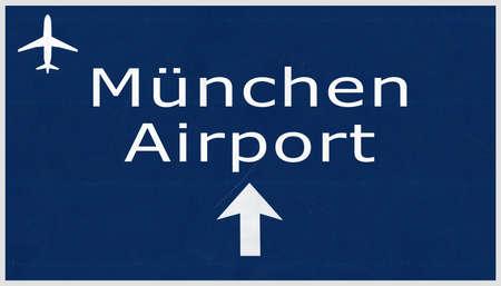 deutschland: Munchen Germany Airport Highway Sign 2D Illustration