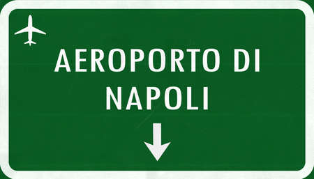 2d: Napoli Italy Airport Highway Sign 2D Illustration Stock Photo